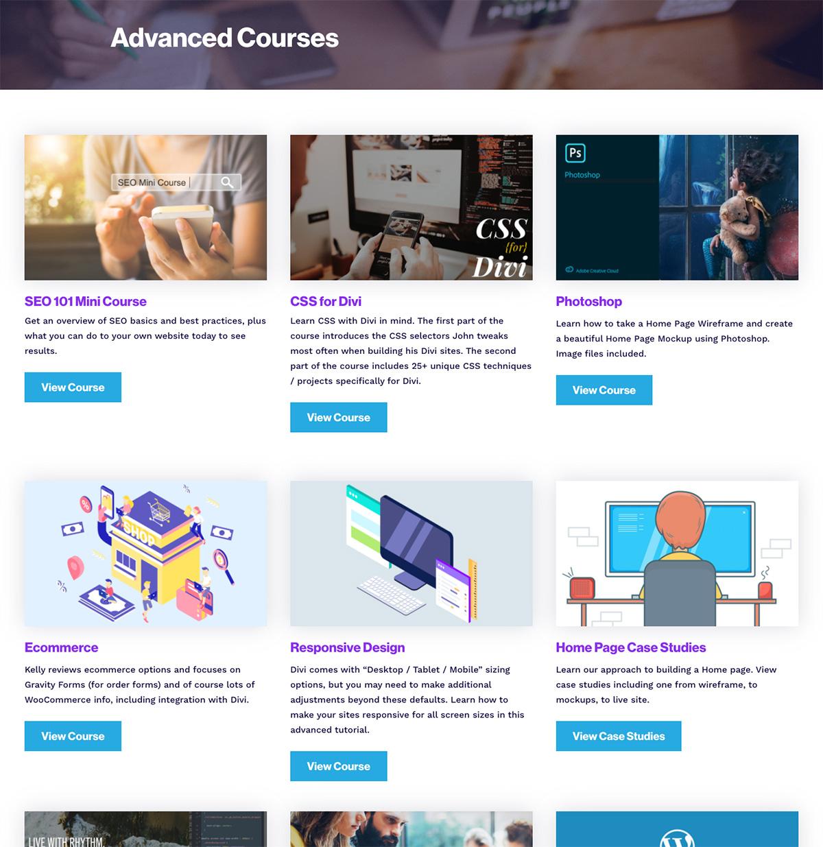 Advanced Courses Screen